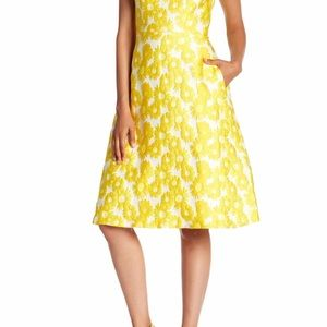Calvin Klein NWT OTS sunflower jacquard dress